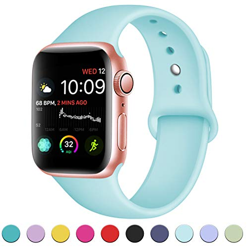 (DaQin Compatible with Apple Watch Band 40mm 38mm, Sport Silicone Replacement Bands for iWatch Series 4 Series 3/2/1, Blue sea, M/L)
