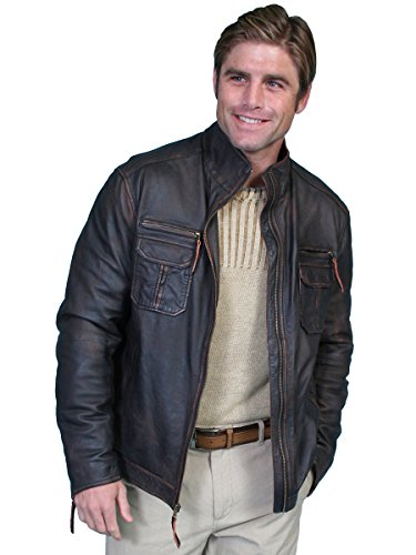 UPC 014861327428, Scully Men's Vintage Lamb Zip Front Jacket Big And Tall Brown Large Tall