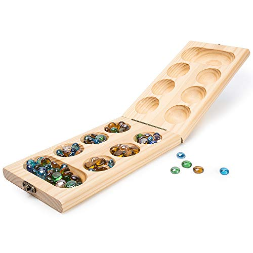 Mancala Game Set - Wooden Folding Mancala Game Board Game Travel Game