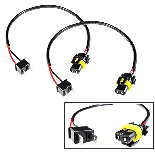 Xotic Tech 2X H7 Pigtail Wire Wiring Harness Cable Adapter for Xenon Ballast Headlight Kit to Stock 9006 Socket (H7 Headlight Wire Harness)