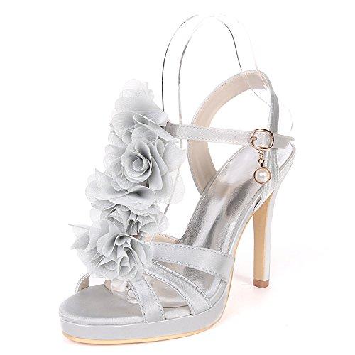 Bout Forme Silver Flower Satin Court Ager UK9 Pompe Talon 18H De Plate Stiletto EU42 Chaussures Soirée Femmes Chaussures Ouvert 5915 Sandales Base Mariage De fq6S1wPfr
