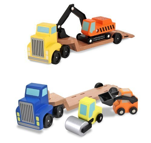 3 Item Bundle: Melissa and Doug 4550 Low Loader and 4577 Trailer Excavator Wooden Trucks + Activity ()