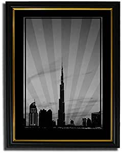 Dubai Skyline Down Town - Black And White No Text F08-m (a5) - Framed