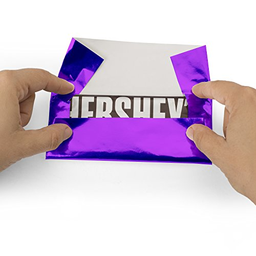 Foil Wrapper (Purple) - Pack of 100 Candy Bar Wrappers with Thick Paper Backing - Folds and Wraps Well - Best for Wrapping 1.55Oz Hershey/Candies/Chocolate Bars/Gifts - Size 6