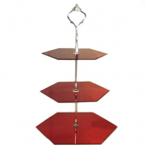 3 Tier Red Mirror Acrylic Hexagon Cake Stand 20cm 25cm 30cm Overall height 32cm