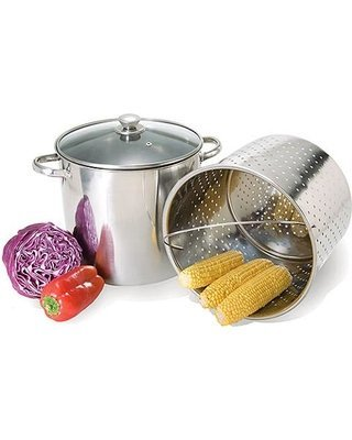 20 Qt Jumbo Multi Stock Pot Steamer Cooker 3pc. Set by Home Select - Clam Steamer Pot