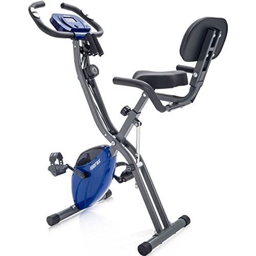 Merax Folding 3 in 1 Adjustable Exercise Bike Convertible Magnetic Upright Recumbent Bike, with Arm Resistance Bands (Blue&Gray)