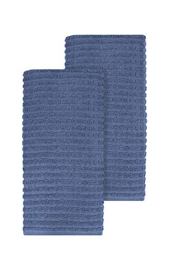Blue Dish Towel - Ritz Royale Collection 100% Combed Terry Cotton, Highly Absorbent, Oversized, Kitchen Towel Set, 28