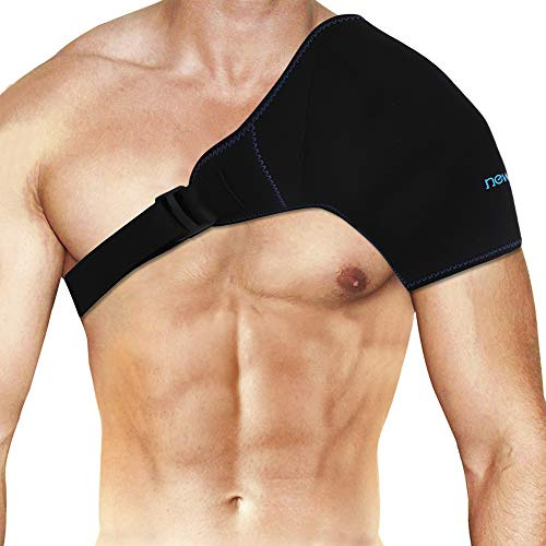 """Shoulder Ice Pack Wrap Reusable Gel Ice Pack with Extender Strap for hot Cold Therapy, Cold Shoulder Gel Wrap for Shoulder Pain, Rotator Cuff Injury, Inflammation - Black(19.7"""" X 9.3"""")"""