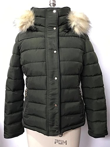 Royal Matrix Women's Heavy Short Quilted Puffer Coat with Removable Faux Fur (Kaki, Large)