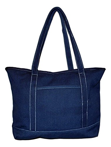 Premium Large 24 oz Cotton Canvas Zipper Top Tote Shopper Bag - Custom Available (Solid (Monogrammed Canvas Handbag)