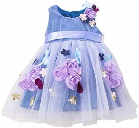 1fd0608023d5 mubenshang Baby Girl Dresses Ruffle Embroidered Sequins Stars Floral Dresses  for Toddler Infant Girls