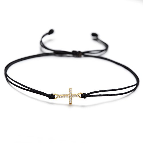 Wistic Hamsa Evil Eye Adjustable Bracelet Kabbalah Silver String Bracelet for Women Men Girls Boys (Black Cross Bracelet)