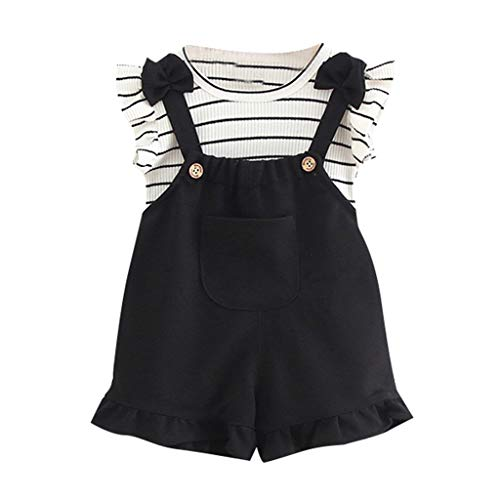 Rakkiss Girls Solid Outfits Sets Sleeveless Vest Stripe Tops Straps Jumpsuit Button Romper Black -
