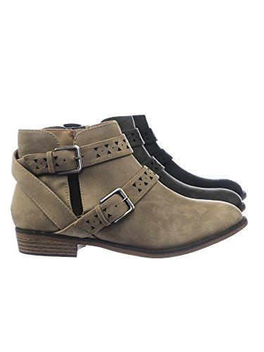 Aquapillar Women Western Ankle Bootie w Belted Detail Open Side & Perforated Cutout (Belted Bootie)