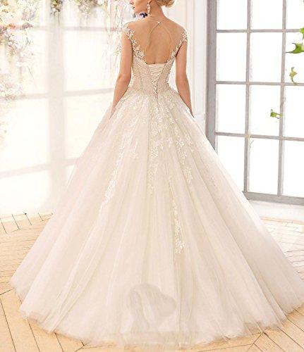 Bride Jahrgang Hochzeitskleider kleider Brautkleid Spitze Rückenfrei Tüll Elfenbein Hochzeitskleid Brautkleider CoCogirls Schier t1qE87w
