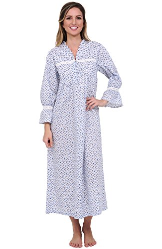 Alexander Del Rossa Womens Romeo and Juliet Cotton Nightgown, Bell Sleeve Victorian Sleepwear, Large Blue Floral Print - Victorian Floral Print
