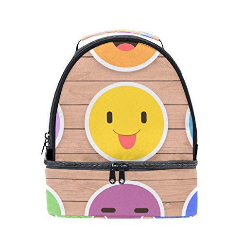 FOLPPLY Funny Emoticon Emoji Lunch Bag Insulated Cooler Tote Box with Adjustable Shoulder Strap for Pincnic School -