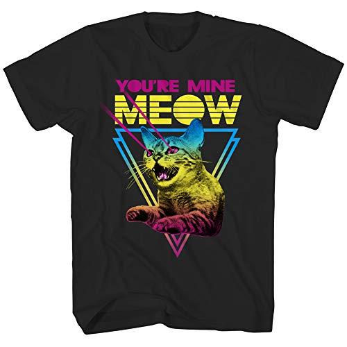 You're Mine Meow Cat Classic Retro Neon Funny Humor Pun Adult Men's Graphic T-Shirt Tee Shirt (Black, - Retro Adult T-shirt Fashion