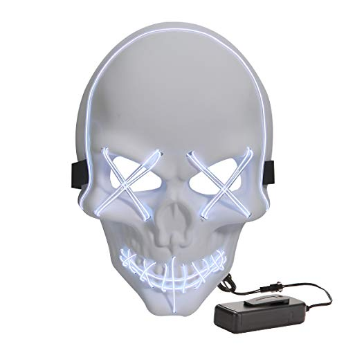 Halloween Costume Scary Skull Mask LED Light Up Masks for Festival Party White -