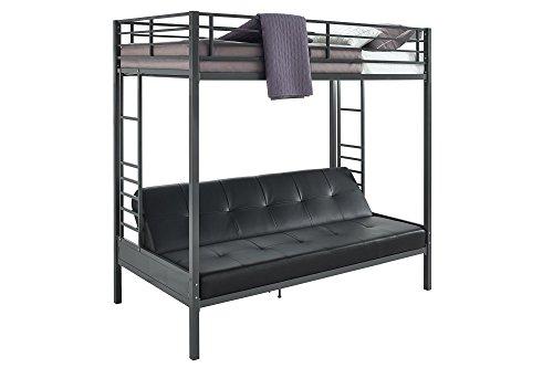 DHP Jasper Premium Twin Over Futon Couch Bunk Bed with Sturdy Design - Black