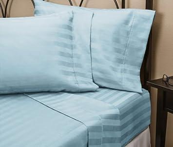 Beau Luxurious 100% Egyptian Cotton 400 TC Expanded Queen Size Sheet Set Stripe  Blue