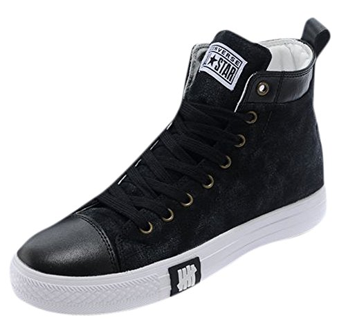 Ace Men's Flat High-top Fashion Canvas Sneakers Running Shoes (7, black)