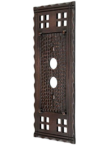 - Arts and Crafts Single Push Button Switch Plate in an Oil-Rubbed Bronze Finish