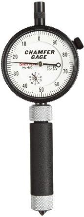"Starrett 683-1Z Inch Reading Internal Chamfer Gauge, 0-90 Degree Angle, 0-3/8"" Range"