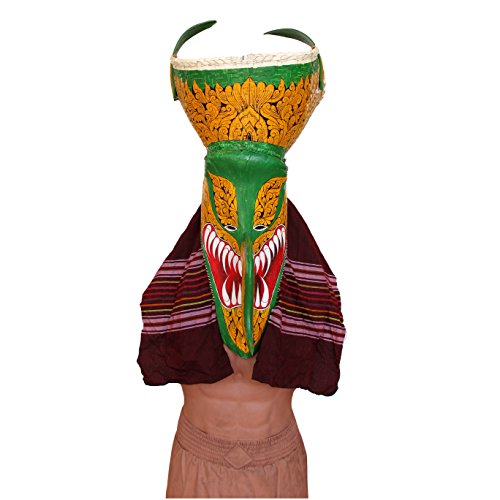 (THAI PHI TA KHON MASK Green Large Handmade Handcraft Wearable and Decoration Mask for Halloween)