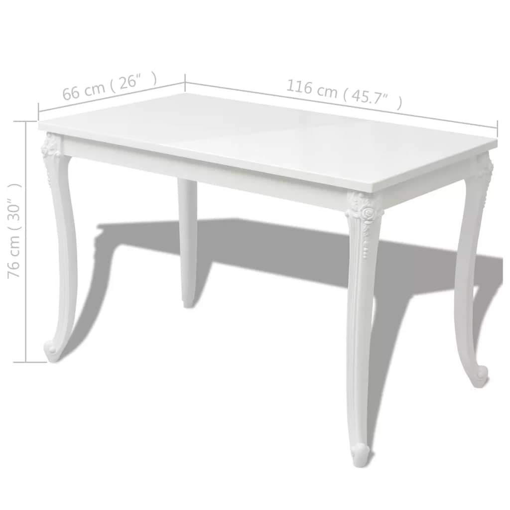 vidaXL Table de Salle /à Manger Cuisine Blanc Haute Brillance Table de Cuisine