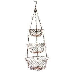 Fox Run 5211 3 Tier Hanging Wire Baskets, Copper