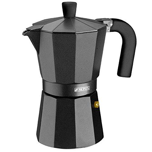 Monix Vitro Noir – Cafetera Italiana de aluminio, capacidad 6 tazas, apta para todo tipo de cocinas salvo inducción 18 x…