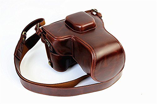 Fuji XT1 Case, BolinUS Handmade PU Leather FullBody Camera Case Bag Cover for Fujifilm X-T1 XT1 with 18-55mm lens Bottom Opening Version + Neck Strap -Coffee