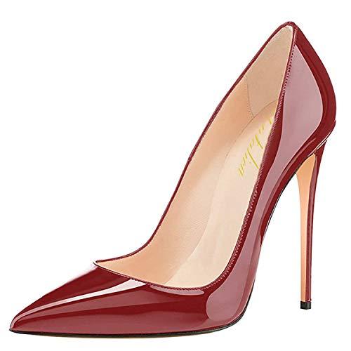 Patent Haut Talon Femmes Robe Escarpins Fête Toe Verni Mariage Lutalica Chaussures Bourgogne Stiletto Pointu xwtgxqF