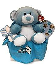 Newborn Baby Boy Gift Basket with Fleece Blanket, TY Plush Teddy Bear, 3 Washcloths and Bathtime Accessory - Expecting Moms, Parent, Infants
