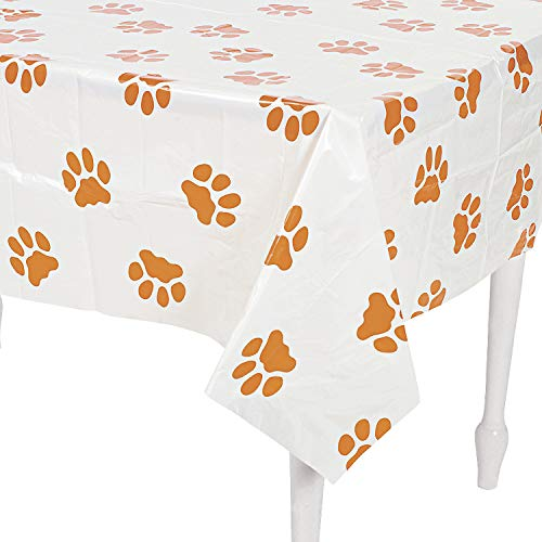 Fun Express - Puppy Pawprint Plastic Tablecover for Birthday - Party Supplies - Table Covers - Print Table Covers - Birthday - 1 Piece -