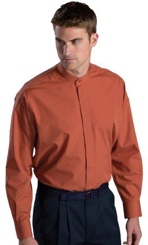 Ed Garments Men's Big And Tall Banded Collar Long Sleeve Shirt, CLAY, - Clay Designer