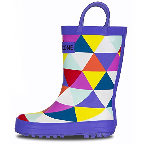 LONECONE Rain Boots with Easy-On Handles in Fun Patterns for Toddlers and Kids, A-Cute Triangle Boot, Toddler 9