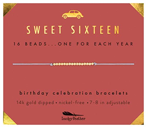 "Lucky Feather Sweet 16 Gold Tone Birthday Bracelet Gift for 16 Year Old Girls with 14K Dipped Beads on Adjustable 7""-8"" -"