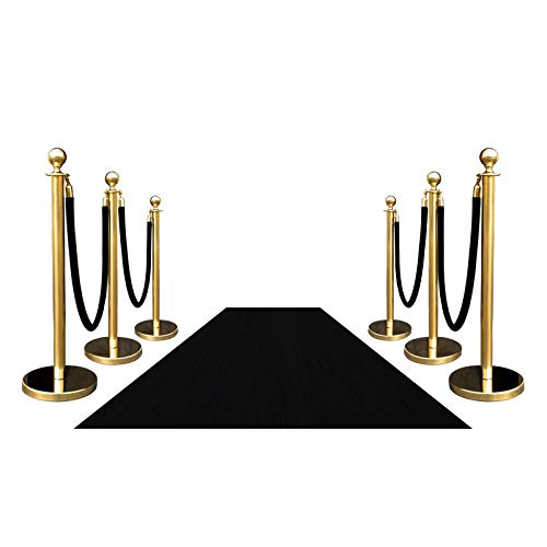 Hollywood Grand Entrance VIP Style Black Carpet Event Rug with Decorative Rope Safety Queue Stanchion Barrier Combo Special (Gold) -
