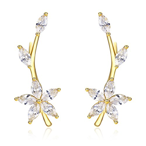 EVER SHINE Ear Cuffs Vines Climbers Wrap Pierced Pins Hook Earrings CZ Crystal Branch Leaves Flower Hypoallergenic (Gold (No Thanks Vine Halloween)