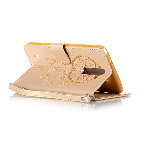 Funda Piel con Tapa para LG Stylus 2 LS775,Flip Fina Case de Cuero LG Stylus 2 LS775, TOCASO Billetera para Personalizada Repujado Flor Campánula Skull Pattern Completa Wallet Ultra Slim Cartera Carca Oro 1
