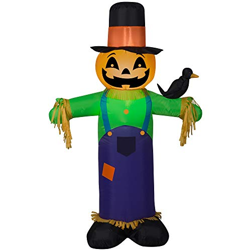 ghi 4' Inflatable Scarecrow with Crow Halloween or Thankgiving Airblown Inflatable by Gemmy.