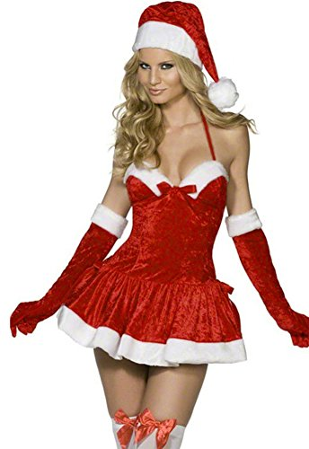 [SK Studio Women's 3 Piece Stretch Christmas Hat Dress Gloves Red] (Xxl Santa Suits For Sale)