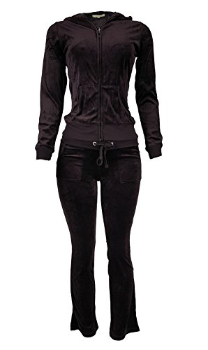 Women's Lightweight Hoodie & Sweatpants Velour Suit 2 Piece Loungewear Set (S-3XL) X-Large Brown