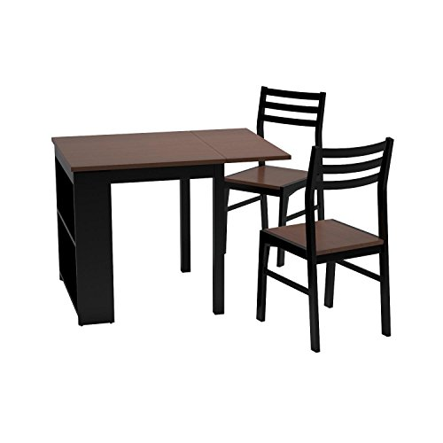 Coaster Home Furnishings 130015 Casual Dining Room 3 Piece Set, Walnut and Black (Small Dining Room Tables)
