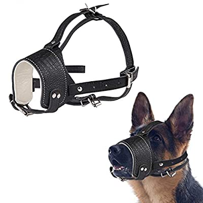 AMOOTEK Dog Muzzle, Anti-Biting, Barking & Chewing Dog Muzzle Adjustable Dog Mouth Cover and Collar, Soft Leather Muzzles for Small Medium Large Dog