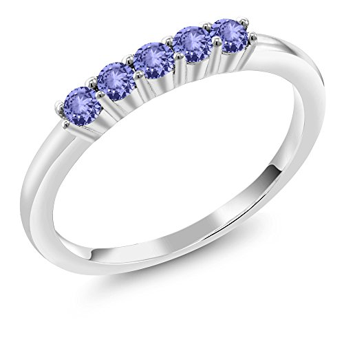 0.40 Ct Round Blue Tanzanite 10K White Gold 5 Stone Wedding/Anniversary Ring (Size 5) - Tanzanite White Gold Band