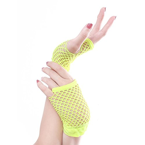 Green Lace Gloves (CMrtew Lady Disco Dance Costume Lace Fingerless Mesh Fishnet Gloves (Green))